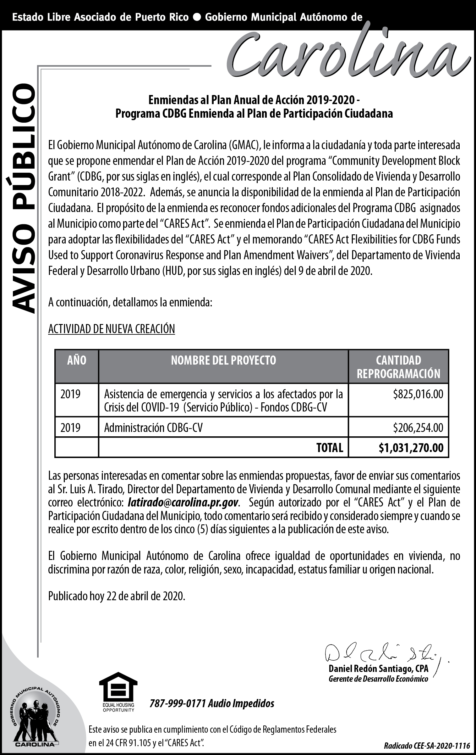 AVISO DE PUBLICO ENMIENDA AL PLAN ANUAL DE ACCION 2019 2020 CDBG (5.05 X 8 VOCERO)